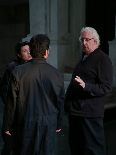 Director Robert Falls works with Marina Rebeka (as Donna Anna) and Antonio Poli (as Don Ottavio) in rehearsal for Mozart's 'Don Giovanni' at Lyric Opera. (Andrew Cioffi)