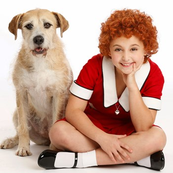 Issie Swickle -- the one on the right -- stars as Annie. (Joan Marcus)