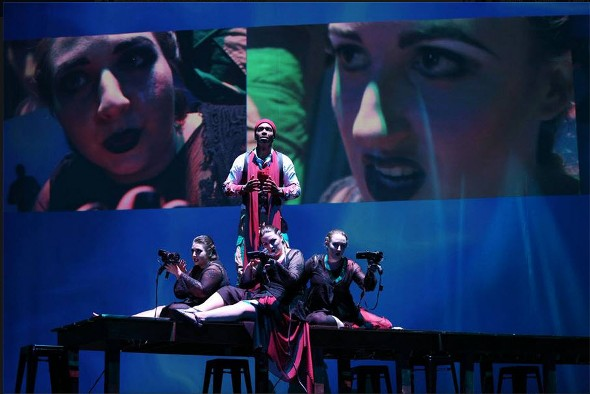 Macbeth visits the witches, who prophesy he will be king, in Ernest Bloch's 'Macbeth' at Chicago Opera Theater (Liz Lauren)