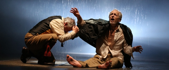 Crazed, rejected Lear (Larry Yando, right) confronts wild nature with his devoted Fool (Ross Lehman). (Liz Lauren)