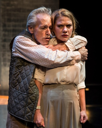 Desperate Lear (Larry Yando) is sure he'll find generosity in his second daughter, Regan (Jessiee Datino). (Liz Lauren)