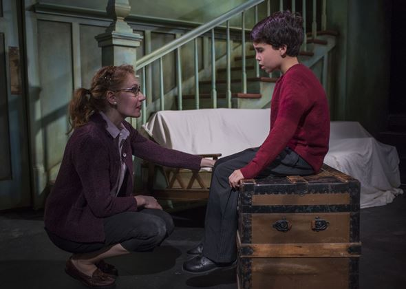 Donny (Abigail Boucher) finds a quiet moment with her anxious son John (Aaron Lamm). (Michael Brosilow)