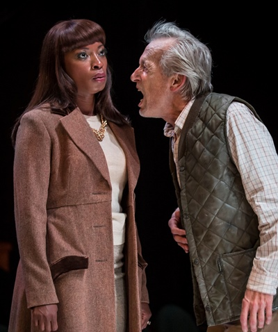 Lear (Larry Yando) is infuriated by the cold shoulder he gets from daughter Goneril (Bianca LaVerne Jones). (Liz Lauren)