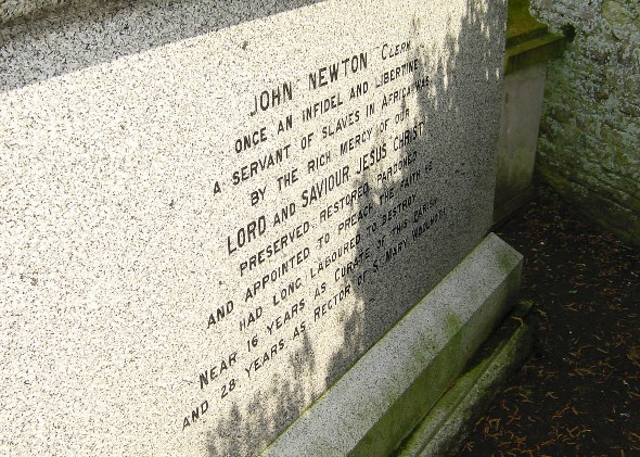 The gravestone of John Newton at Olney, Buckinghamshire, bearing his self-penned epitaph.