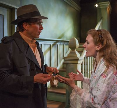 There are things Donny (Abigail Boucher) may not know about  her old friend Del (Darrell W. Cox). (Michael Brosilow)