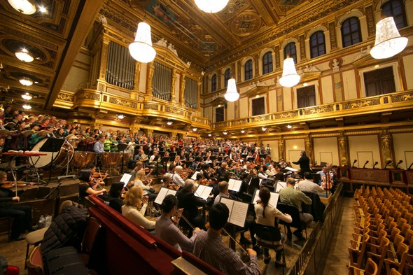 It's a tight squeeze to rehearse the Verdi Requiem with the Chicago Symphony and the concert choir of the Vienna Musikverein. (Todd Rosenberg)