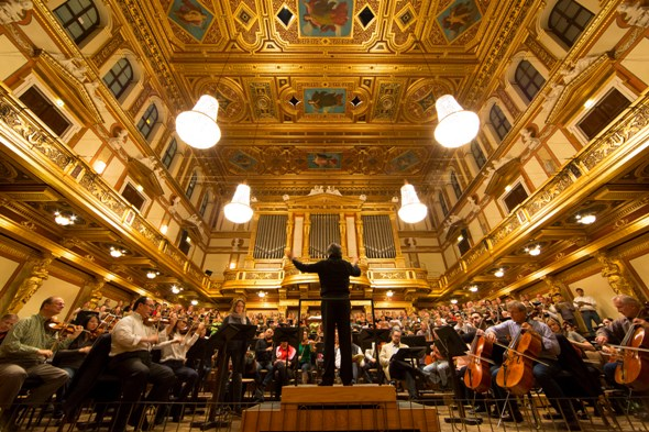Riccardo Muti and the Chicago Symphony Orchestra rehearse Verdi's Requiem in Vienna's spectacular Musikverein on Oct. 31, 2014. (Todd Rosenberg)