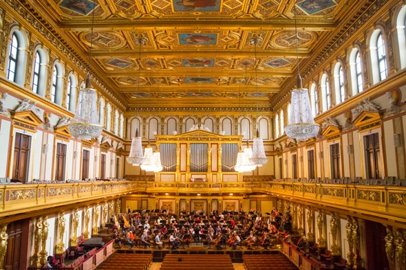 The golden hall of the Vienna Musikverein, where the Chicago Symphony Orchestra performed Oct. 28-Nov. 2, 2014. (Todd Rosenberg)