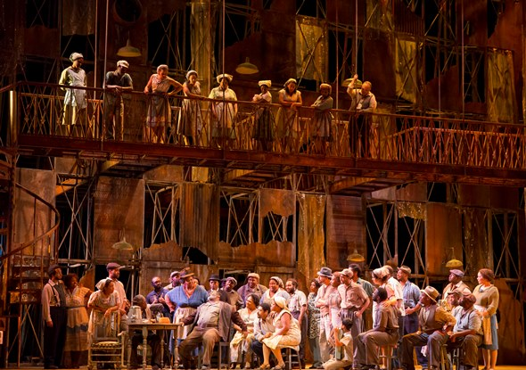 The townsfolk of Catfish Row on the Lyric Opera set designed by Peter J. Davison. (Todd Rosenberg)