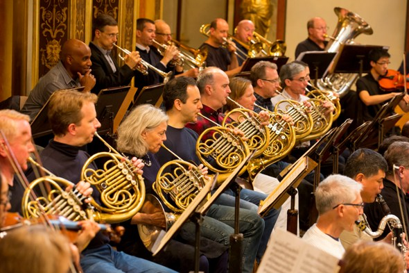 Wow, what a sound. Trumpeter Tage Larsen contemplates the glory of the Musikverein. Oct. 28, 2014 (Todd Rosenberg)