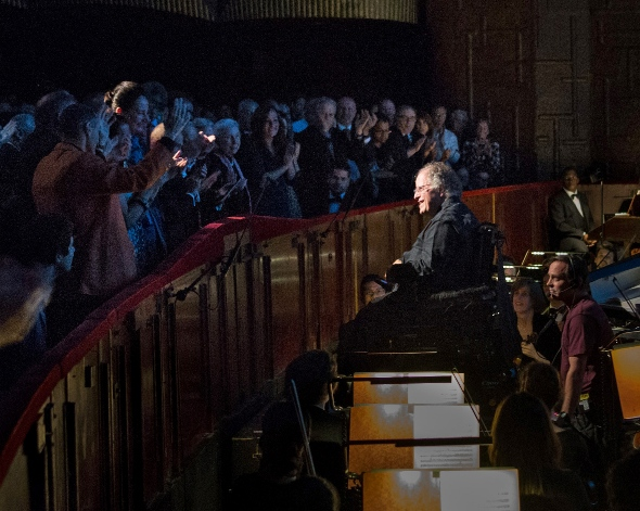 Metropolitan Opera music director James Levine in his new podium elevator chair in the pit at the Met. (Naomi Vaughan)