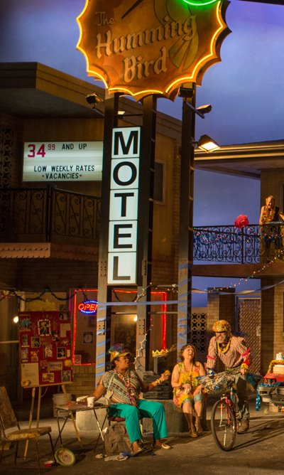 Designer Scott Pask's motel set captures the shabby existence on Airline Highway. (Michael Brosilow)
