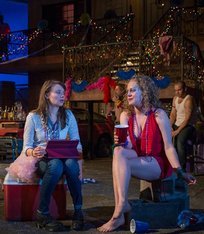 High school researcher Zoe (Carolyn Braver) interviews stripper Krista (Caroline Neff). (Michael Brosilow)