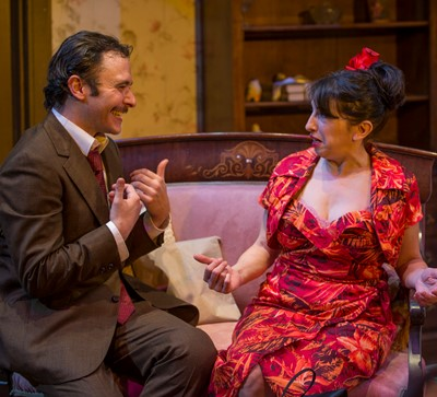 Alvaro Mangiacavallo (Nic Grelli) makes his romantic pitch to Serafina (Eileen Niccolai) in 'The Rose Tattoo.' (Michael Brosilow)