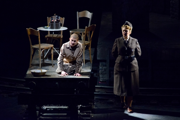Marta (Amanda Majeski, left) is remembered in a flashback by Liese (Daveda Karanas), who was her SS overseer in 'The Passenger.' Lyric Opera Feb. 2015 (Robert Kusel)