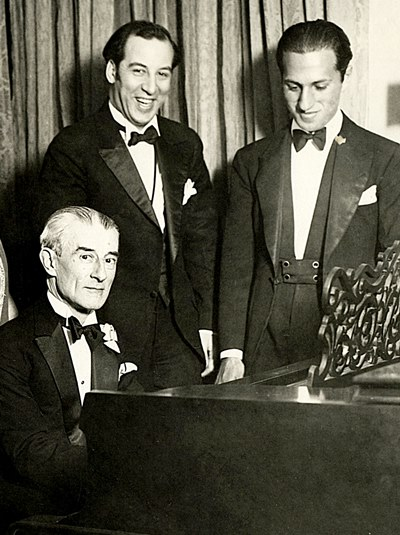 Maurice Ravel, left, and George Gershwin, right, came under mutual sway when the French composer visited the U.S. in 1928.