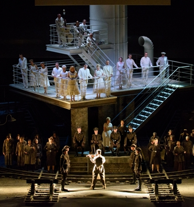 The action shifts between two levels in David Pountney's production of 'The Passenger,' designed by Johan Engels. (Robert Kusel)