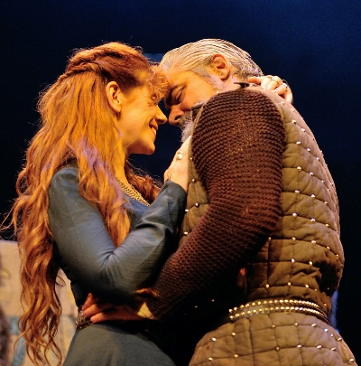 Gruach (Siobhan Redmond) and Siward (Darrell D'Silva) find love more appealing than war. (Ka Lam)
