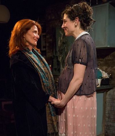 Charlotte (Stephanie Chavara, right) confides in Sara (Liz Zweifler) about great plans. (Michael Brosilow)