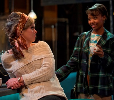 Darlene (Ashleigh Lathrop, right) finds a good listener in  regular Ann (Cyd Blakewell). (Michael Brosilow)