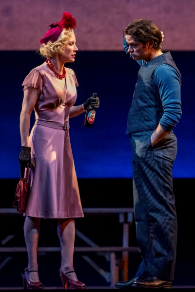 Hardened carney owner Mrs. Mullin (Charlotte d'Amboise) and her barker Billy (Steven Pasquale) in 'Carousel' at Lyric Opera 2015. (Todd Rosenberg)