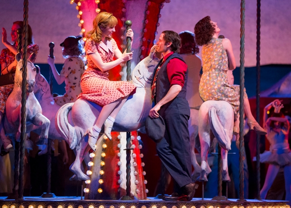 Julie (Laura Osnes) is mesmerized by Billy Bigelow (Steven Pasquale) in 'Carousel' at Lyric Opera of Chicago. (Todd Rosenberg, 2015)