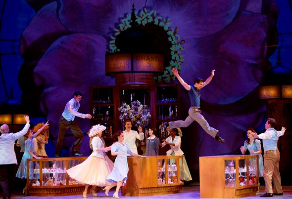 The cast in a high-energy production number from 'An American in Paris' on Broadway. (Angela Sterling)