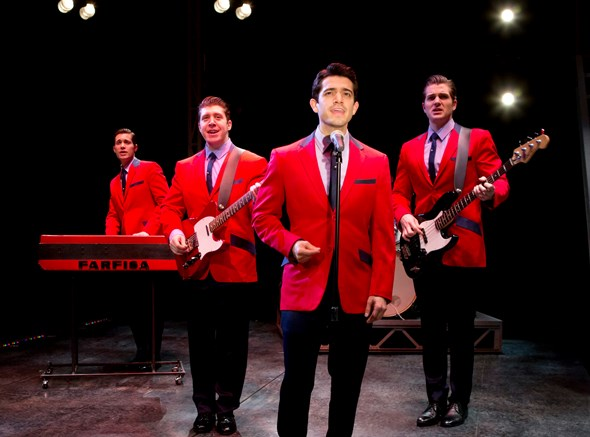 Frankie Valli (Hayden Milanes, foreground) and the Four Seasons at center stage in 'Jersey Boys.' (Jeremy Daniel)