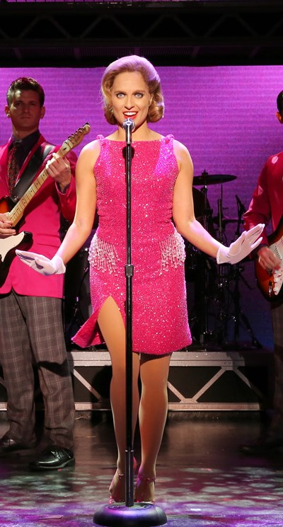 Leslie Rochette, in one of her roles as the lead performer in a girl group, sings 'My Boyfriend's Back' in 'Jersey Boys.' (Joan Marcus)