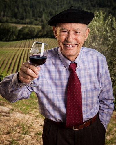 Miljenko Grgich, 92, lauded as the King of Chardonnay, toasts life with a glass of -- naturally -- Cabernet Sauvignon.