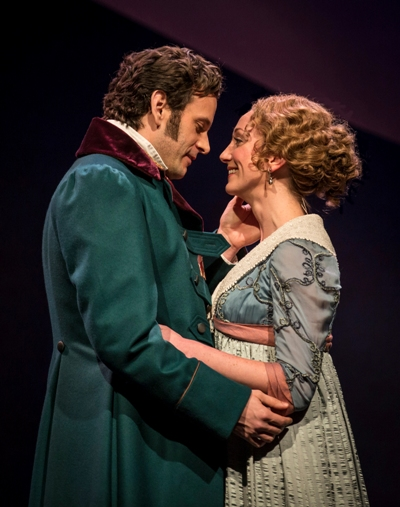 Shy Edward Ferrars (Wayne Silcox) embraces Elinor (Sharon Rietkerk) only at the very last in 'Sense and Sensibility' at Chicago Shakespeare. (Liz Lauren)