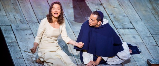 Marion Cotillard as Joan of Arc with Éric Génovèse as Brother Dominique in the New York Philharmonic production of Honegger's 'Joan of Arc.' (Chris Lee)