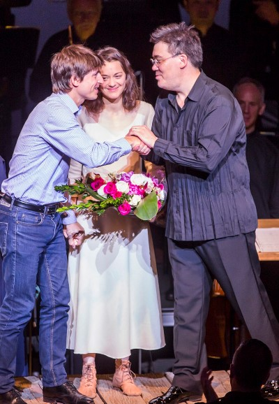 Stage director  Côme de Bellescize shared an ovation with Marion Cotillard as Joan and conductor Alan Gilbert. (Chris Lee)