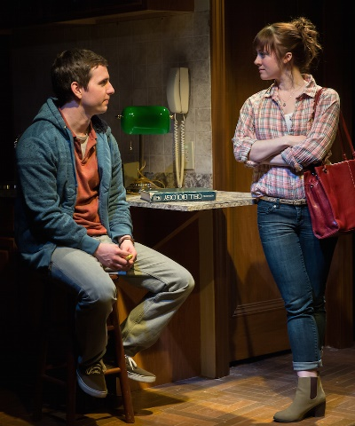 Lucy (Tyler Meredith) corners Albert (Alex Stage) in the library with some direct questions and a clear purpose. (Rob Zalas)
