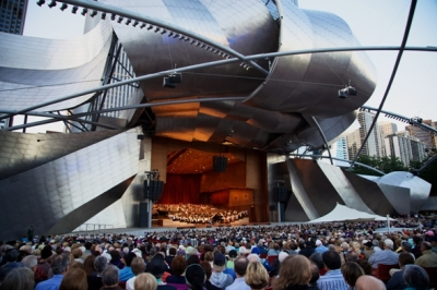 Pritzker Pavilion in Millennium Park is the home of the Grant Park Music Festival. (Christopher Neseman)