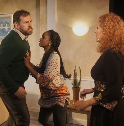 Margie (Jacqueline Grandt) opens old wounds when she visits Mike (Mark Pracht) and Kate (Kiki Layne). (Jan Ellen Graves)