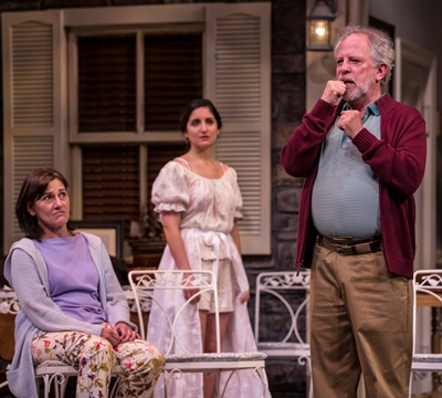 Sonia (Janet Ulrich Brooks, left) and Nina (Rebecca Buller) look on as Vanya (Ross Lehman) laments how we've all become isolated from each other. (Liz Lauren)