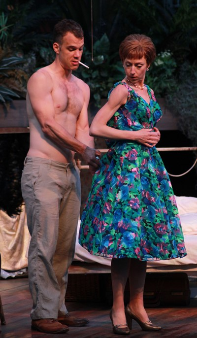 Stanley (Eric Parks) can be a quiet, helpful husband when Stella (Cristina Panfilio) needs help with a zipper. (Carissa Dixon)