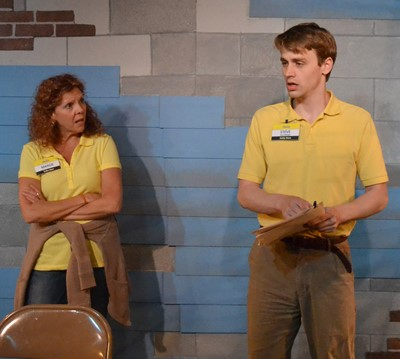 Stevie (Aaron Kirby) has bad news for constantly late employee Margie (Jacqueline Grandt). (Jan Ellan Graves)