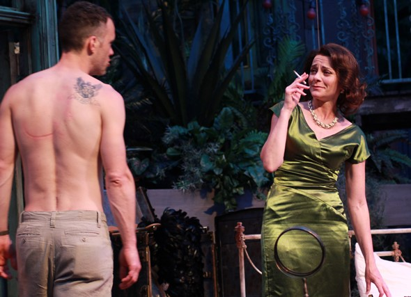 Blanche DuBois (Tracy Michelle Arnold) sizes up her situation with Stanley (Eric Parks) in 'A Street Car Named Desire.' (Carissa Dixon)