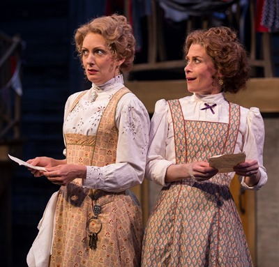Mistresses Alice Ford (Deborah Staples) and Margaret Page (Colleen Madden) receive identical love letters from Falstaff. (Liz Lauren)