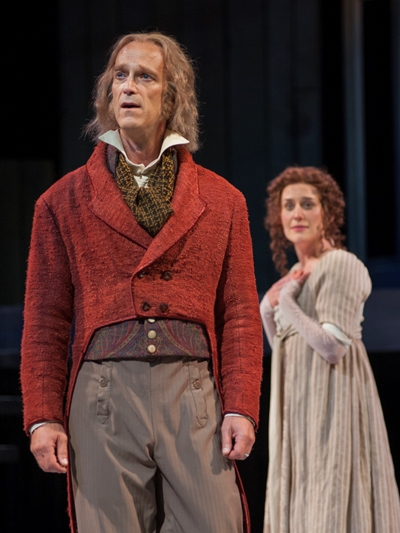 Mr. Bennet (James Ridge) has his eye on the well-being of daughter Lizzy (Kelsey Brennan). (Zane Williams)