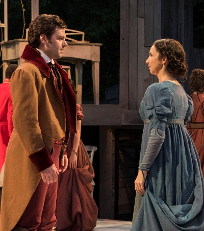 Mr. Bingley (Nate Burger) makes his intentions known to Jane Bennet (Laura Rook). (Zane Williams)