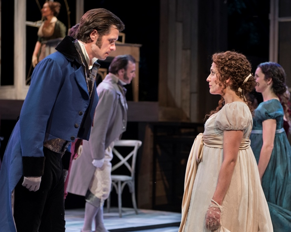 Mr. Darcy (Marcus Truschinski) makes a stiff effort at dancing with Elizabeth Bennet (Kelsey Brennan). (Zane Williams)