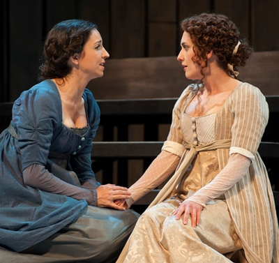 Sisters Jane (Laura Rook) and Elizabeth Bennet (Kelsey Brennan) share a confidential moment. (Zane Williams)
