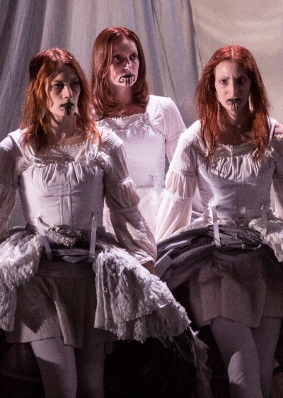 The trio of Monica West, Kasey Foster and Emma Cadd play diverse roles, including (together) the raging, deadly whale  (Liz Lauren)