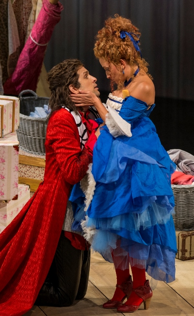 Count Almaviva (Luca Pisaroni) makes a heartfelt appeal to the servant Susanna (Christiane Karg). (Todd Rosenberg)