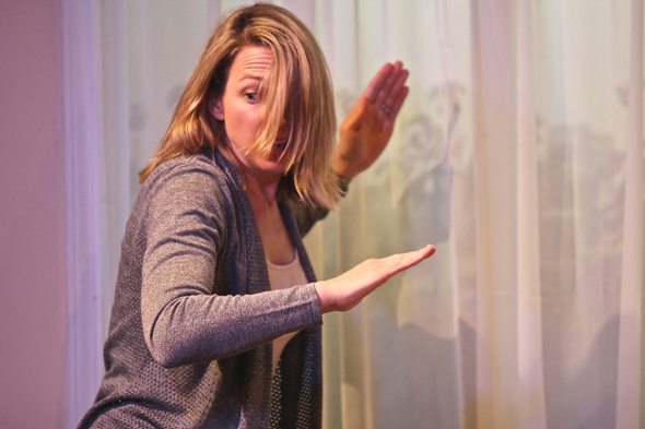 Kendra Thulin as Anne, who forgets to lock the front door in the world premiere of 'The Cheats' at Steep Theatre. (Photo by Gregg Gilman)