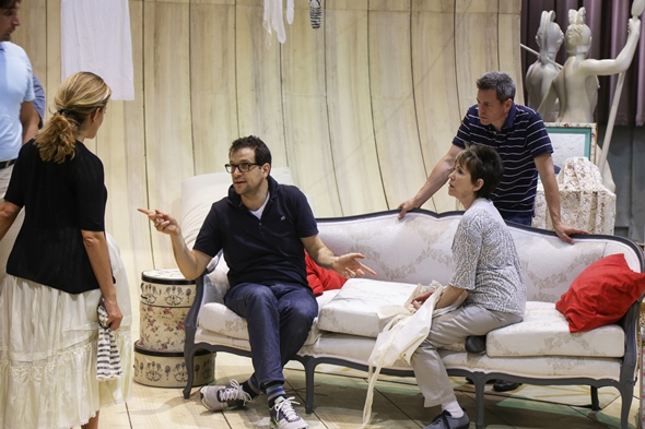 Luca Pisaroni, seated as Count Almaviva, has the floor in rehearsal as director Barbara Gaines (seated) and other cast members listen. (Andrew Cioffi)
