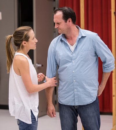 Olivia Cygan as Chris and Eric Slater as her father rehearse a scene from Charise Castro Smith's creepy 'Feathers and Teeth.' (Liz Lauren)
